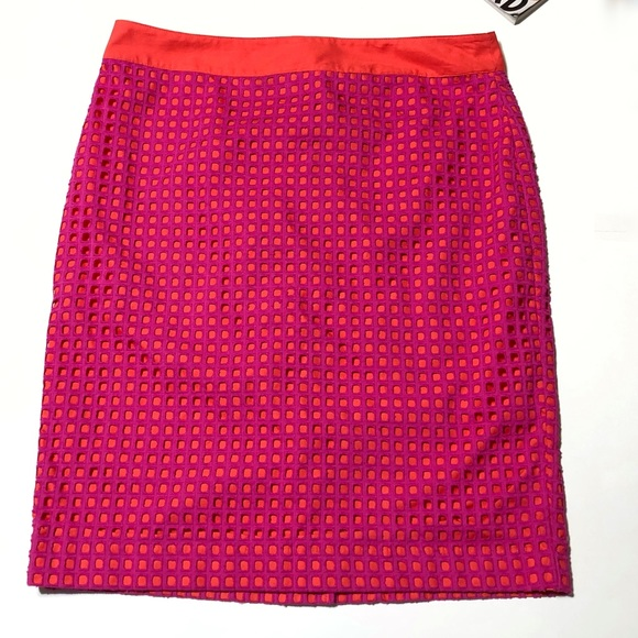 Women's Clothing Talbots Eyelet Pencil Skirt Clothing, Shoes & Accessories Size 6p Fuschia Pink Orange Euc